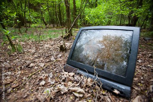 Stary telewizor wyrzucony w lesie. - fototapety na wymiar