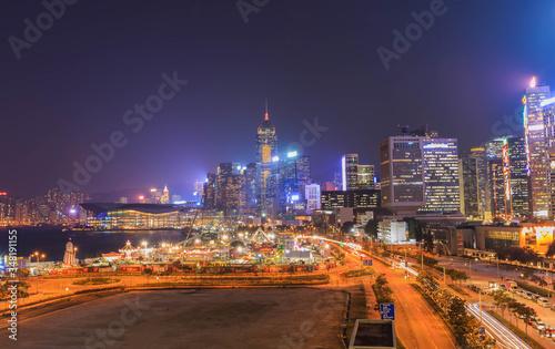 Fototapeta Illuminated City At Night obraz na płótnie