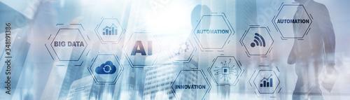 Obraz Artificial intelligence Big Data Automation Innovation universal background. - fototapety do salonu