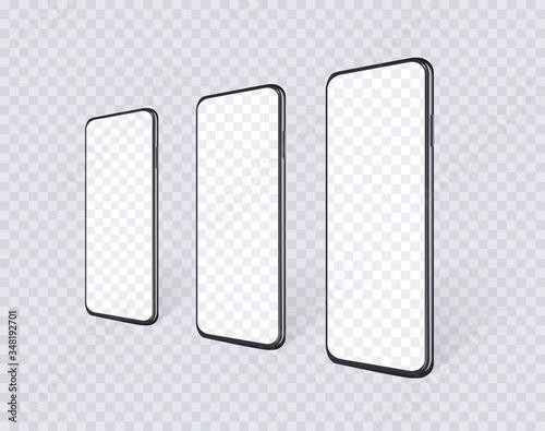Slika na platnu Realistic smartphones in row en perspective view with empty screen