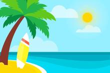 Surf On Seashore. Surfboard Un...
