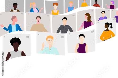 Video conference, a multinational international team arranges an online meeting, concept of remote work Wallpaper Mural