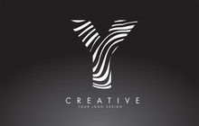 Y Letter Logo Design With Fingerprint, Black And White Wood Or Zebra Texture On A Black Background.