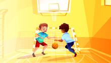 School Boys Play Basketball Ve...