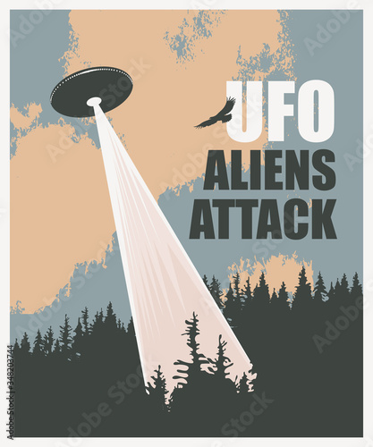 Vector banner on the theme of an alien invasion with the words UFO aliens attack Wallpaper Mural
