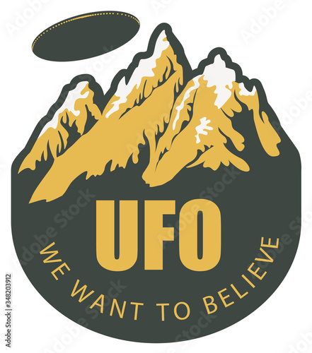 Vector banner on the theme of alien invasion with the words UFO we want to believe Wallpaper Mural