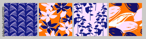 Fotografía Artistic set of seamless patterns with abstract flowers and leaves