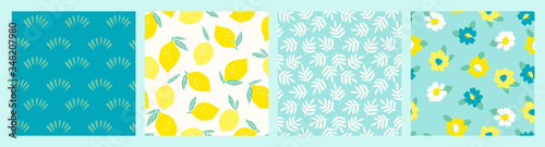 Artistic set of seamless patterns with abstract flowers and lemons. - 348207980