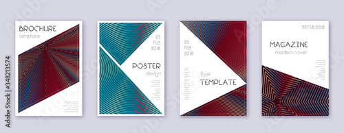 Fototapety, obrazy: Triangle brochure design template set. Red abstrac