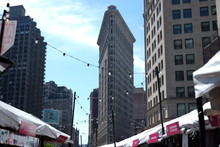 Low Angle View Of Historic Flatiron Building Against Sky In City