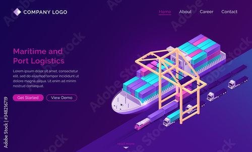 Fotografie, Tablou Transport logistics isometric landing page, ship in port with ramp, train and trucks