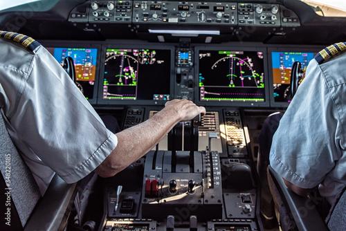 Pilot and copilot in commercial plane Tablou Canvas
