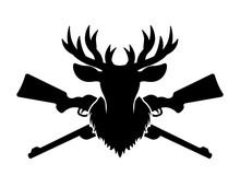 Deer Head Silhouette And Two Crossed Rifles Vector