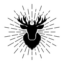 Deer Head Silhouette With Rays Vector Illustration