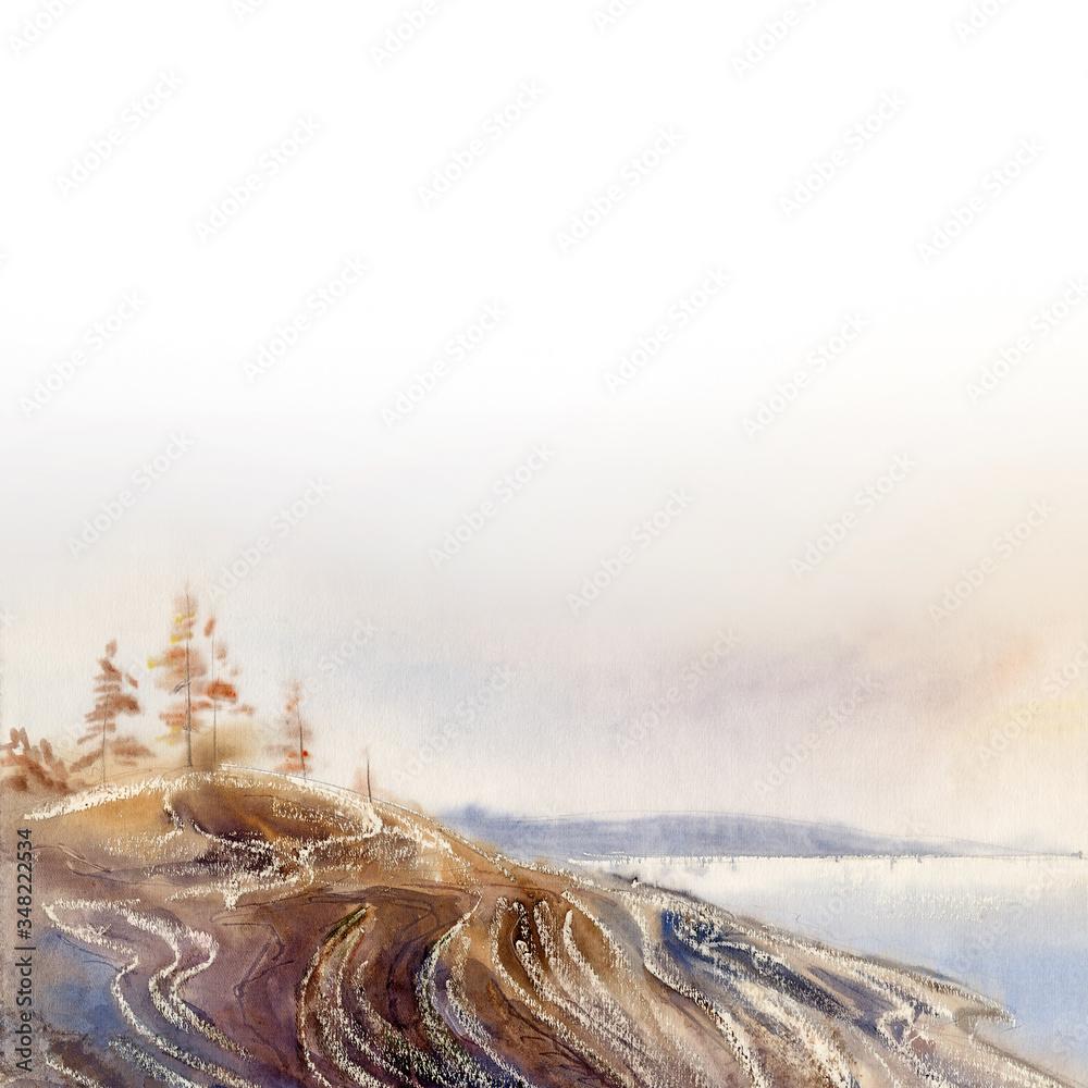 Watercolor landscape background: granite coast of the White Sea