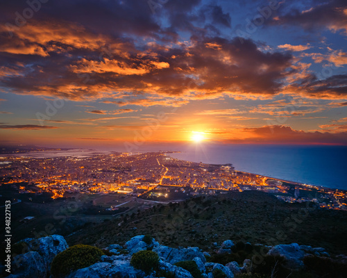 Top view above the city illuminated with lights. Location Trapani town, Sicily, Italy, Europe. #348227153
