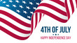 4th of july, Happy Independence Day celebrate banner with waving United States national flag. USA holiday vector illustration.