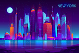 Fototapeta Miasto - Night city futuristic landscape vector background