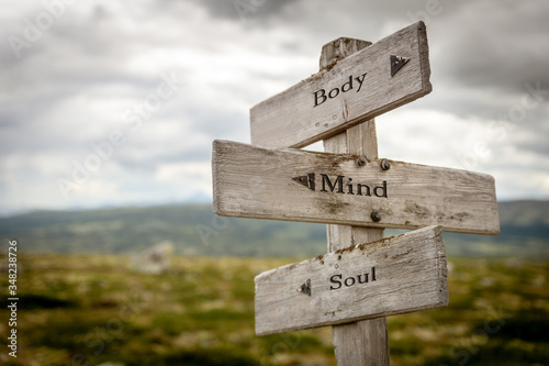 body mind soul text engraved on old wooden signpost outdoors in nature. Quotes, words and illustration concept.