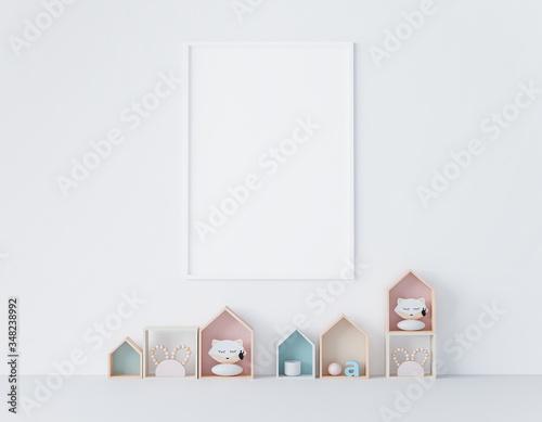 mock up poster frame in kids room, Scandinavian style interior background, empty frame, 3D render, 3D illustration