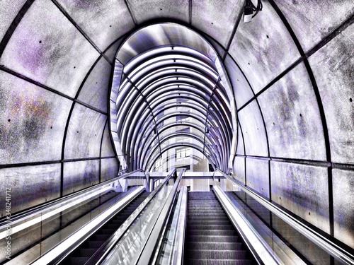 Fotografie, Obraz Low Angle View Of Escalators