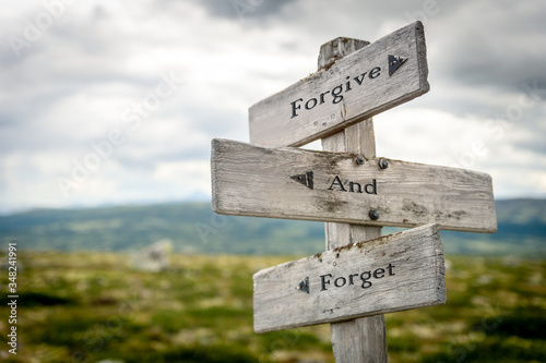 forgive and forget text engraved on old wooden signpost outdoors in nature Canvas Print