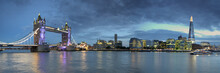 London Skyline On The Thames In Blue Hour