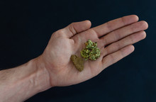 Top Views Of A Hand With Marijuana Buds And A Block Of Hash Isolated On Black Background. Comparison Between Weed And Hashish.