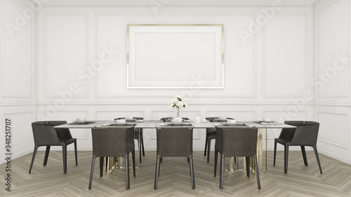Cuadros en Lienzo Modern luxury dining room with table and chair , white pattern wall and picture frame