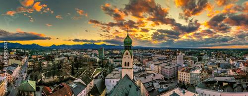 Leinwand Poster Sonnenuntergang über Rosenheim
