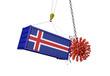 Coronavirus outbreak crashing into Iceland cargo container. 3D Render
