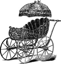 Vintage Baby Carriage, Vector ...