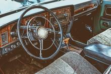 Interior Of Vintage Car Dashboard
