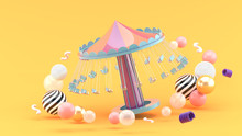 Fairground Rides Surrounds Many Colorful Balls On An Orange Background.-3d Rendering..
