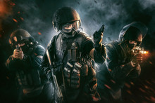 Three Soldiers In Full Uniform...
