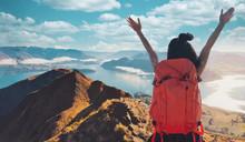 Young Asian Women Hikers Climb...