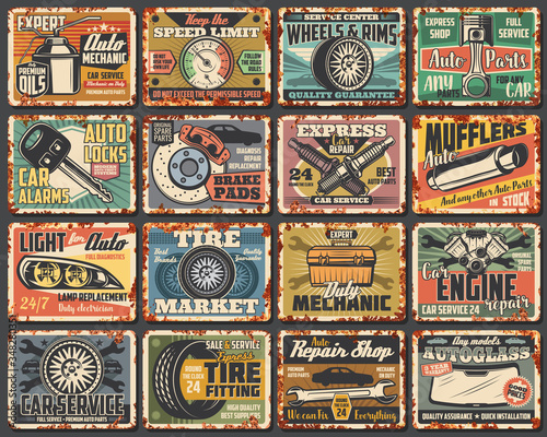 Fototapeta Car service rusty metal plates, vintage rust signs. Mechanic garage station vector grunge posters, transportation advertising signs. Car engine repair station, vehicle spare parts shop, rusty plates obraz