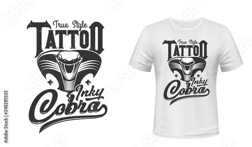 Obraz Cobra t-shirt print or tattoo. Vector mascot, apparel mockup with attacking black snake extended hood and open mouth. Sport uniform, t-shirt activewear template, monochrome cobra mascot and lettering - fototapety do salonu