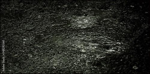 Obraz na plátně High Angle View Of Rain Drop On Puddle