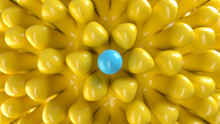 Abstract Composition With Pattern Of A Yellow Suckers And Blue Sphere In Center. 3d Render With Depth Of Field.