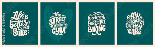 Fotografie, Obraz Set woth lettering slogans about bicycle for poster, print and t shirt design
