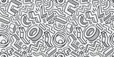 Fototapeta Młodzieżowe - Seamless background sketch. Hand-drawn geometric pattern vector illustration