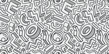 Seamless Background Sketch. Hand-drawn Geometric Pattern Vector Illustration