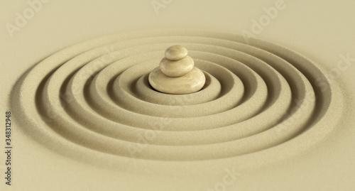 Photo Zen garden stone 3d rendering
