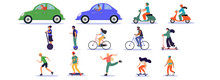 Large Set Of Transport And Ride On Icons With Car, Assorted Scooters, Bicycle, Skateboard And Segway On White, Colored Vector Illustration