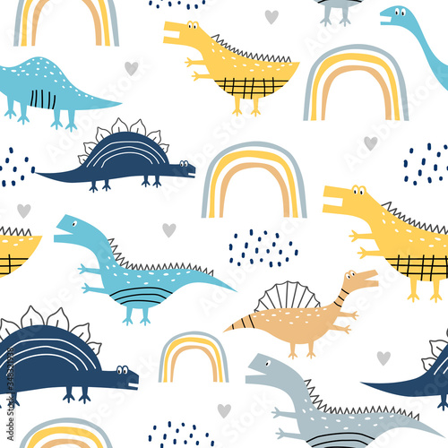 Fotomural childish dinosaur seamless pattern for fashion clothes, fabric, t shirts