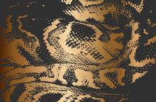 Distressed Overlay Texture Of Crocodile Or Snake Skin Leather, On Golden Grunge Background.