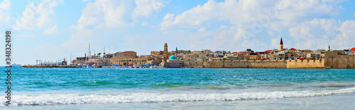 Acre city fortress and harbor panorama. Unesco heritage Wallpaper Mural