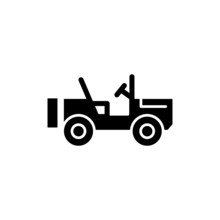 Military Off Road Vehicle Icon Vector In Black Flat Design On White Background, Filled Flat Sign, Solid Pictogram Isolated On White, Symbol, Logo Illustration