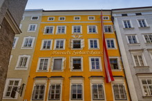 Birthplace Building Of Wolfgang Amadeus Mozart In Salzburg By Day, Austria